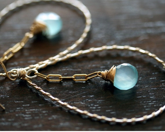 Hoop Earrings - Chalcedony Earrings - Aqua Chalcedony Hoop Earrings - Large Hoop Earrings - Aqua  Earrings
