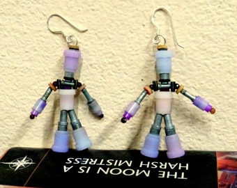 Geeky purple robot earrings, cute fun gift for girl, repurposed plastic, eco friendly upcycled jewellery, colorful jewelry, unique gift