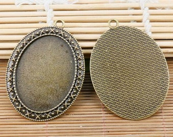 2pcs antiqued bronze tone big oval  30*40mm cabochon setting pendant EF2142