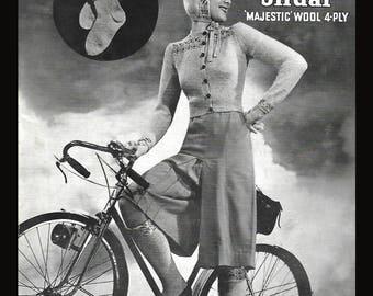 Sirdar 1940s Knitting Pattern Fair Isle Cardigan Socks Hood Gloves PDF WWII WW2