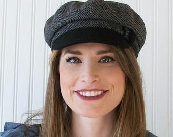 Black and Gray Wool Newsboy Hat, Womens Hat, Newsboy Cap, Womens Cap