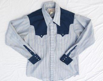 Vintage Mens Western Shirt, Rockmount Ranch, Denver CO, 16.5, 35, Pearl Snaps, Contrasting Yoke