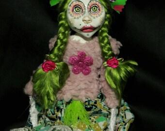 ooak art doll, green hair