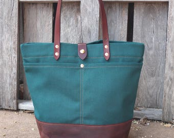 Canvas Tote Bag with Leather Handles/Bottom/Strap Closure