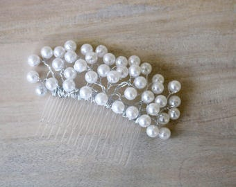 Pearl hair comb, pearl hairpiece, vintage hair comb, bridal hair comb, white bridal comb, silver bridal comb, pearl bridal comb, pearl comb