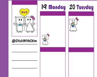 Bow Robot Girl Eat Noodles   Cute Planner Stickers   Perfect for planners and calendars   R2027