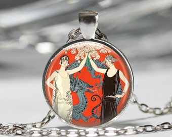 Dragon Necklace, Flapper 20's Fashion Jewelry, Vintage Art Pendant [A57]