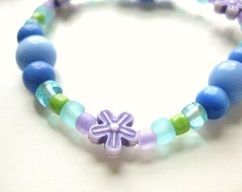 Girls Bracelet with Purple Flowers, Purple and Blue Kids Bracelet, Medium, GBM 111