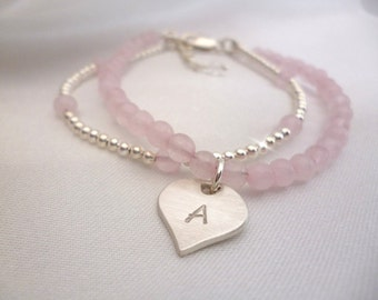 Silver and Rose Quartz Personalised Bracelet With Heart Charm, Charm Bracelet with Initial, Dainty Bracelet with Heart, Rose Quartz Bracelet