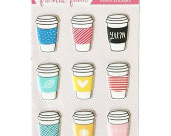 Freckled Fawn Puffy Stickers - Coffee Cups