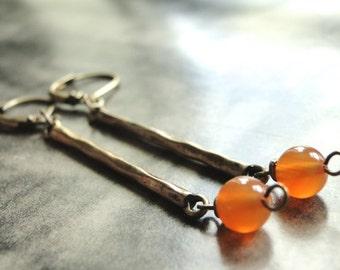 Earrings, Jewelry, Earrings, Statement Earrings, Brass Bar Earrings, Gift for Her, Accessories, Glass Dangle Earrings