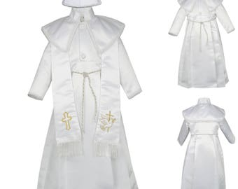 New 4pc White Boy Baby Toddler Baptism Christening Gown with Stole & Hat CB318