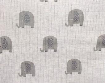 Riley Blake Double Gauze Fabric - Elephant Swaddle Blanket Fabric - Elephant Baby Blanket Fabric - Photo Prop Baby Fabric - G587