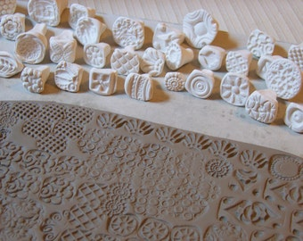 bisque stamps for pottery, polymer, PMC, play doh, fondant and more....***PLEASE carefully read listing description***