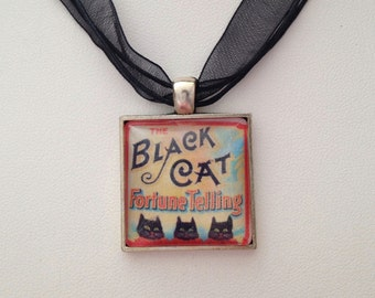 Parker Brothers Black Cat Fortune Telling Game One Inch Square Pendant