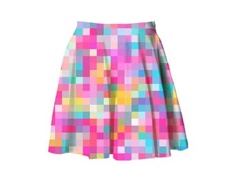 candy pixel skater skirt XS - 3XL | kawaii gamer nerd plus size pastel fairy kei decora harajuku j fashion aesthetic plus size 2XL XL