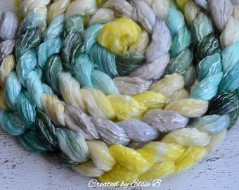 Polwarth/ Tencel 'Carnations & Daisies' 4 oz spinning fiber, green wool for spinning, wool roving by the pound, combed top, dyed wool roving