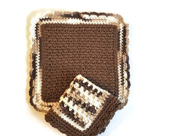 Crochet Cotton Dishcloth Set, Two Brown Dish Cloths, Cotton Washcloth, Handmade Wash Cloth
