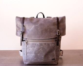 Backpack No.3 in Grey waxed canvas