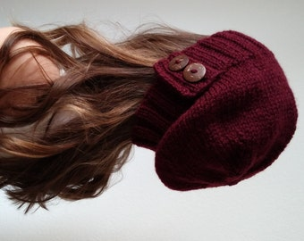 Knit slouchy hat with button/s - BURGUNDY (more colors available - made to order)