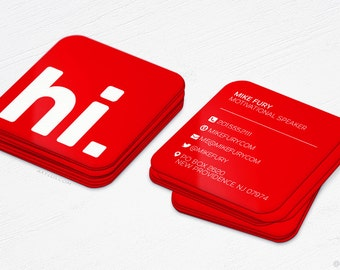 Hi Social Business Cards - Rounded Corners Mini Cards - Red, Blue, Green, Pink - Design and Printing - 100, 250, 500, 1000