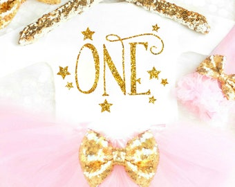 Twinkle Twinkle Little Star Birthday Outfit First Birthday Outfit Girl 1st Birthday Girl Outfit Pink and Gold Cake Smash Outfit 17