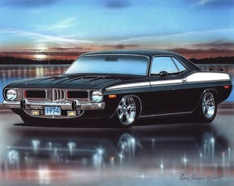 1974 Plymouth Cuda 360 Muscle Car Art Print w/ Color Options