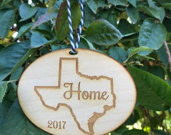 Personalized Etched Wood Christmas Ornament Texas Home