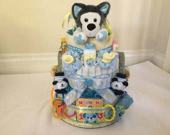 Boy's  3 Tier Puppy Diaper Cake