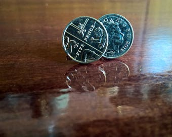 5 Pence Piece Cash Cufflinks! Handmade and Unique!
