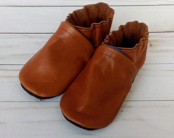 Brown Handmade Baby Shoes Soft Sole Leather Booties