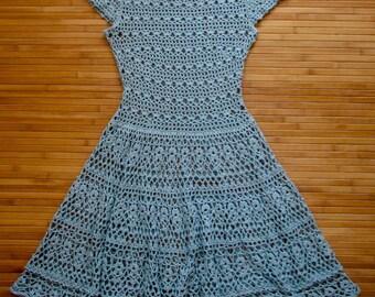 Crochet dress PATTERN only in Russian. Голубое платье крючком СХЕМЫ только на русском языке.