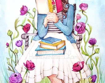 The Book Lover with Flowers - Watercolor Print
