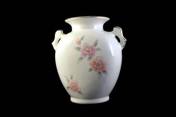 Table Vase, Fine China Japan, Gold Trim, White, Floral, Centerpiece, Flower Vase, Pink Floral, Handled Vase