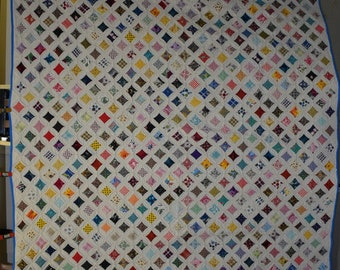 CATHEDRAL WINDOWS Antique Quilt, Handmade Circa 1960 with Hundreds of Pieces,Full or Queen Size Vintage Quilt, Conversation Prints, #18242