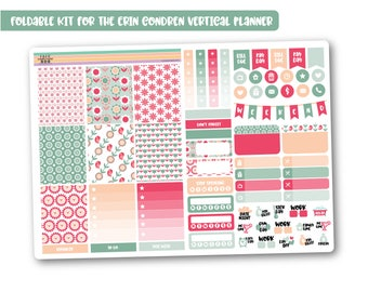 RETRO FLOWERS weekly planner kit, Floral stickers kit, Mini planner kit perfect for the vertical Erin Condren, Cute weekly kit - Foldable!