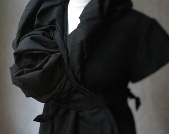 Black Wool Wrap Jacket/Coat by NervousWardrobe on Etsy