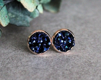 Navy Blue Stud Earrings, Rose Gold Earrings, Blue and Rose Gold Earring, Navy Blue Earring, Dark Blue Earring, Navy and Rose Gold, Navy Stud