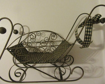 Sleigh Unique Large Vintage Green Tinted Metal and Woven Christmas Holiday Decor Sleigh Gift Idea Centerpiece Home Decor Table Decor
