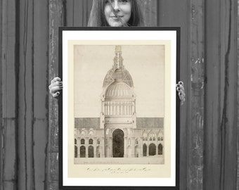 FRAMED Cathedral of St Paul London - Vintage Architectural Print - Religious Art Print -  English Baroque Cathedral Architecture Drawing