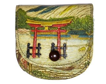 1920s Japanese Hand Painted Embossed Leather Coin Purse