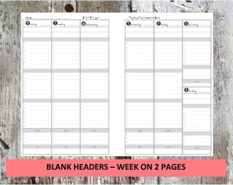 A5, Half, Junior - Week on 2 pages - Printable - Vertical weekly PLANNER insert - INSTANT DOWNLOAD