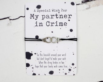 Partner in Crime Wish Bracelet   String Wish Bracelet   Friendship Wish Bracelet   Handcuff String Bracelet   Best Friend Gift