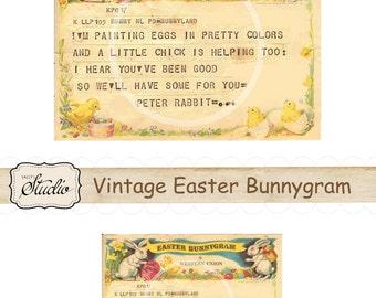 Vintage Easter Bunnygram, Digital Download Rabbit Image for Cards, Scrapbooks, Tags, Digital Collage, Western Union Easter Post card, Easter