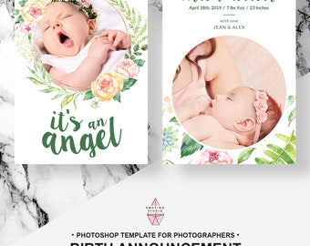 Printable Birth Announcement Template, Just Born, Welcome Baby, Newborn, Photoshop Photography Marketing Template, Photographer, Card, PSD