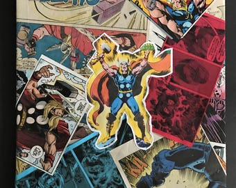 Custom Comic Collage Art on Canvas - Thor