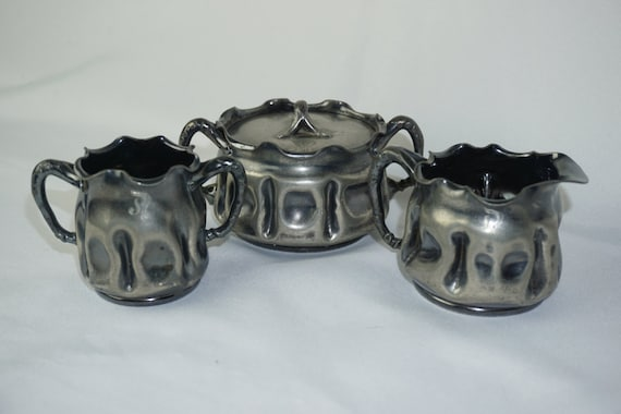 Pairpoint Quadraplate Silver 3 Piece Spooner Creamer Covered Sugar No 2028 Serpent