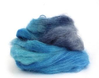 Ocean Blue lace yarn, hand dyed kid mohair silk yarn, Perran Yarns knitting crochet wool, snorkel blue variegated yarn skein, uk seller