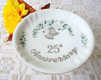 Vintage Lefton Cake Plate - Lefton 25th Anniversary Cake Plate - Lefton China Pedestal Plate