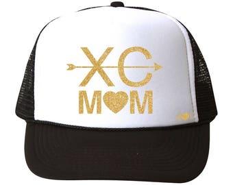 cross country mom - glitter trucker hat (multiple colors)